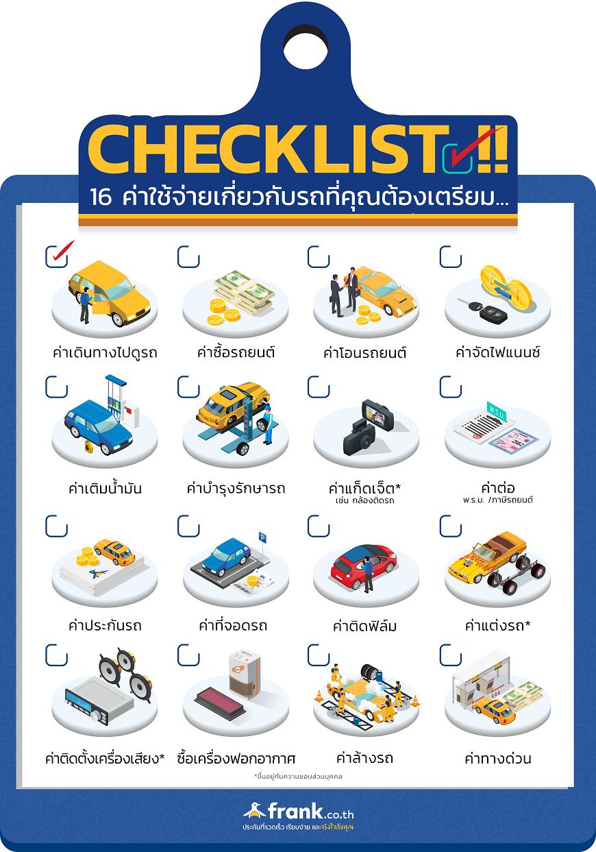 Checklist !! 16 ค่าใช้จ่ายเกี่ยวกับรถที่คุณต้องเตรียม
